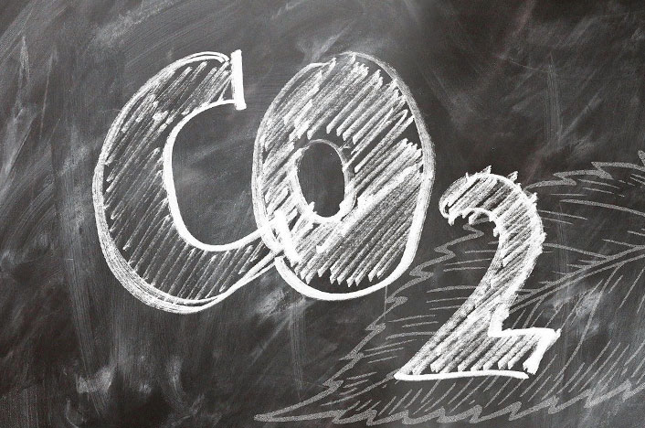 Pizarra dibujada con la palabra CO2