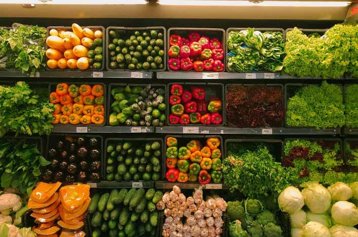 Baldas con frutas y verduras