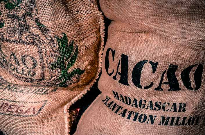 Sacos de café y cacao
