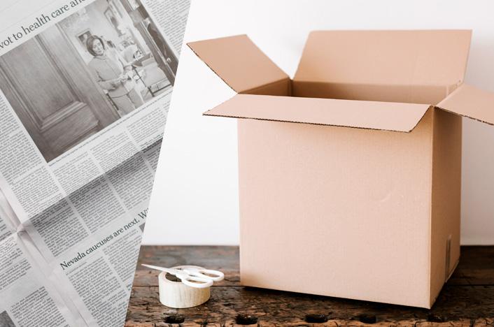 papel periódico y cartón