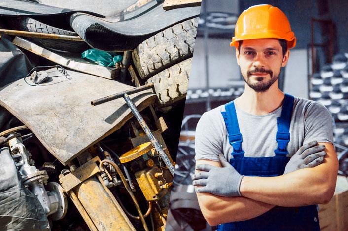 residuos y trabajador