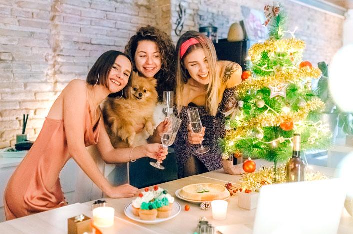 amigas en Navidad