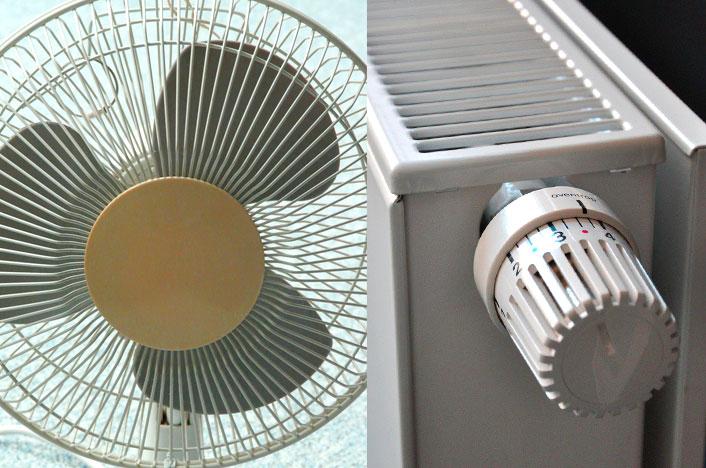 ventilador y calefacción