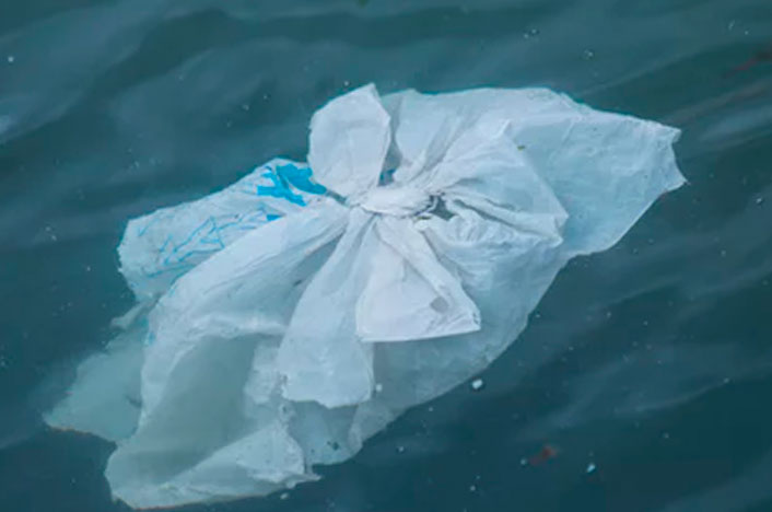 bolsa de plástico mar