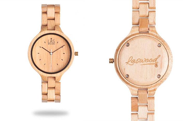 Relojes de madera de arce de la marca Laswood