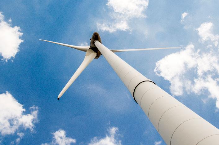 Aerogenerador, también conocido como molino de viento