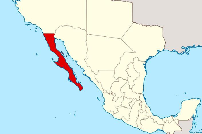 Baja California en mapa de México