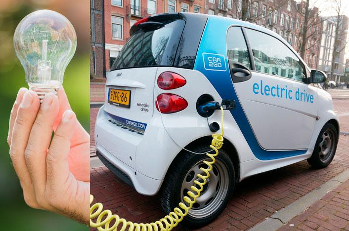 Bombilla y coche eléctrico como ventajas de la electricidad
