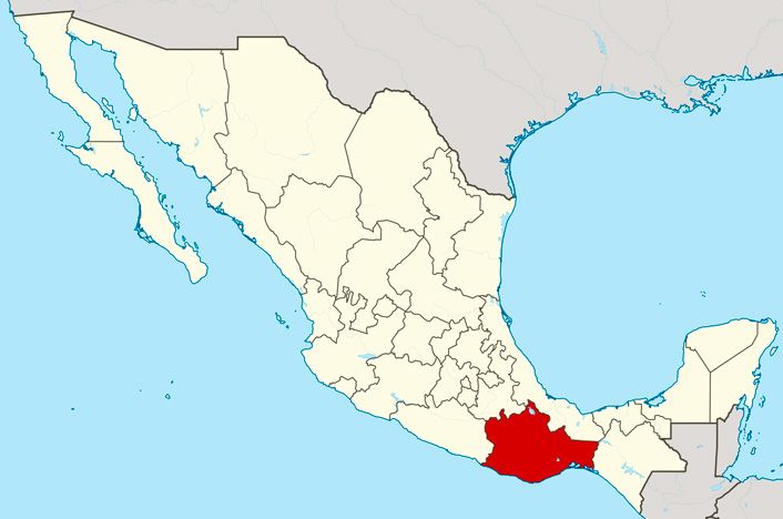 Oaxaca en mapa de México