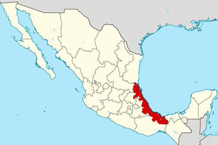 Veracruz en mapa de México