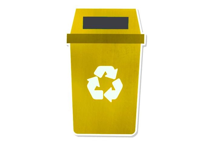 Contenedor de reciclaje amarillo