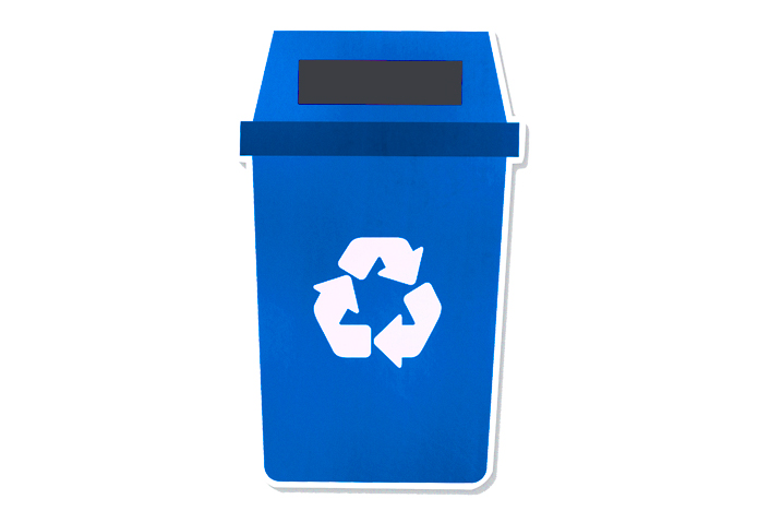Contenedor de reciclaje azul