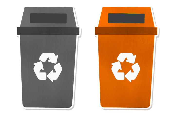 Contenedor de reciclaje gris y naranja