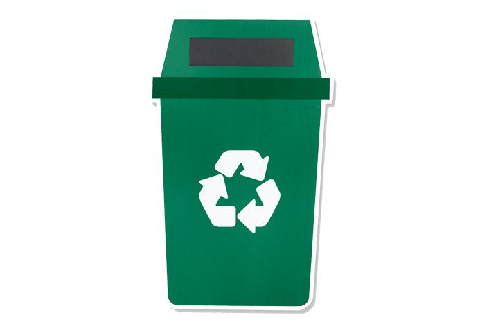 Contenedor de reciclaje verde