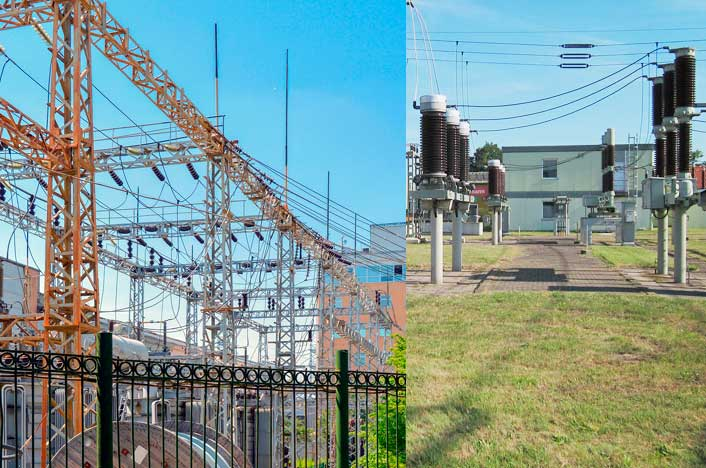 Subestaciones eléctricas en ciudades y fuera de ellas