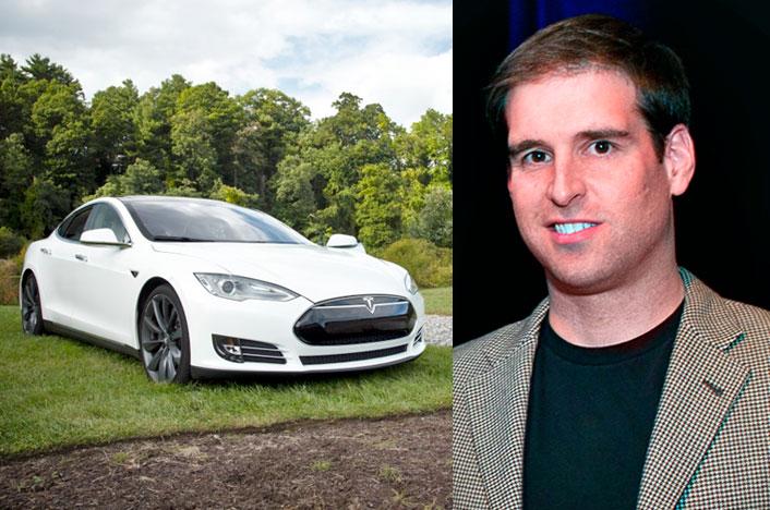 Coche Tesla y JB Straubel