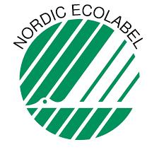 Símbolo de certificado cisne nórdico que recicla el papel con un 25% menos de la fibra virgen