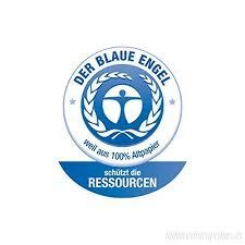 Símbolo de certificado ángel azul, papel 100% reciclado y sin blanqueantes
