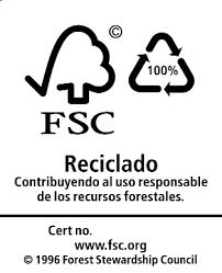 Símbolo de FSC, el 100% del papel es reciclado
