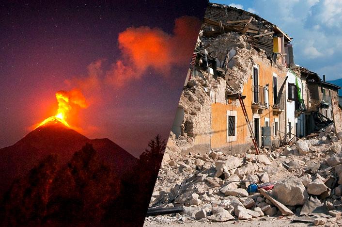 Erupción volcánica y terremoto