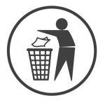 Símbolo de reciclaje Tidyman - Monigote tirando un papel a una papelera