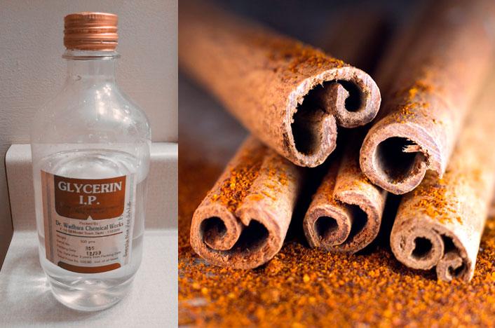 Botella de gicerina y canela,