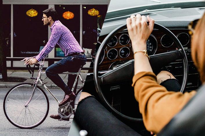 bicicleta y coche