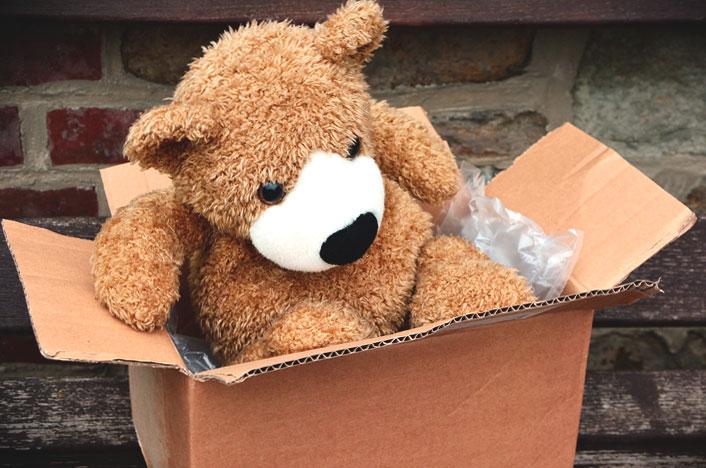 oso de peluche en caja