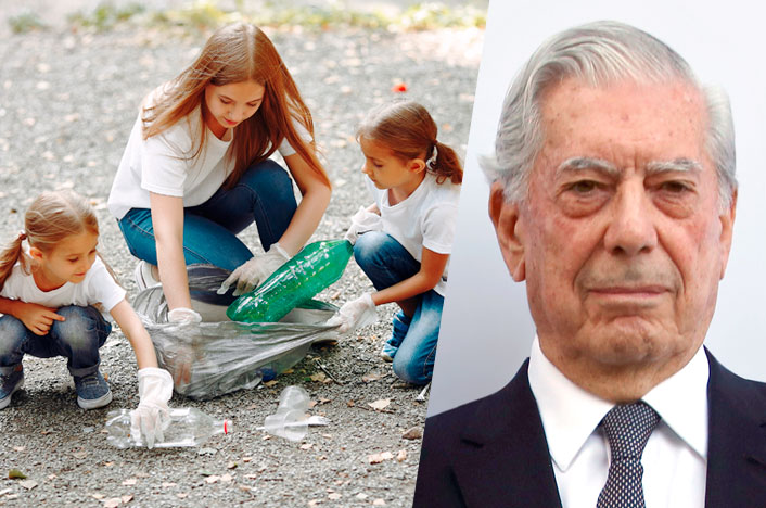 Mario Vargas Llosa y niños cuidando el medio ambiente
