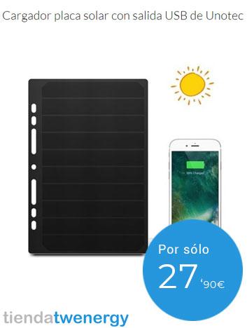 Cargador con placa solar para móvil - Recursos naturales
