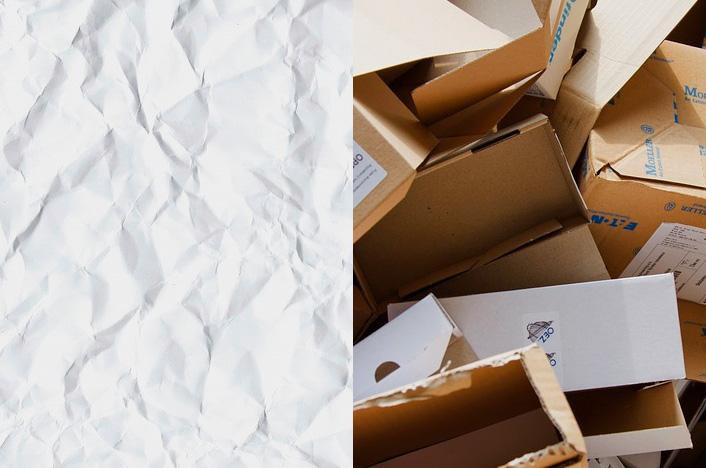 papel y cajas de cartón